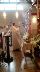 An incensation during Bright Monday Liturgy