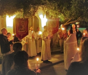 The procession at the beginning of Paschal Matins