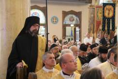 Fr. Theodore, and two other monks from Mount tabor in the congregation. The deacon at left is Fr. Moses from Holy Resurrection Romanian Catholic monastery. Photo courtesy of St. Nicholas Catholic Cathedral.